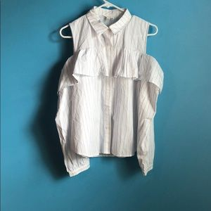 Tops - Ruffle, shoulder cut outs, button up blouse